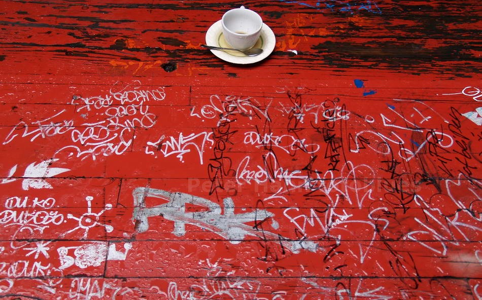 LOST CUP ON RED RAINY TABLE - BERLIN-MITTE