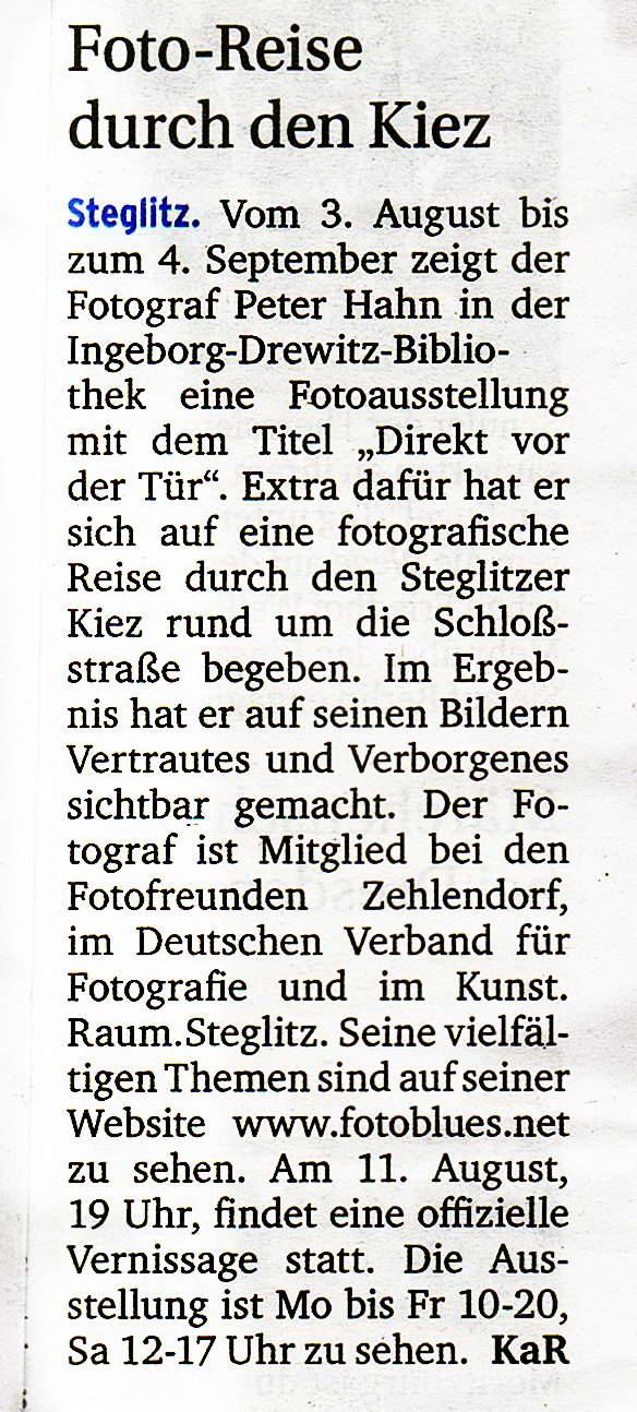 2017.08.02 Berliner Woche Artikel Fotoausstellung1a
