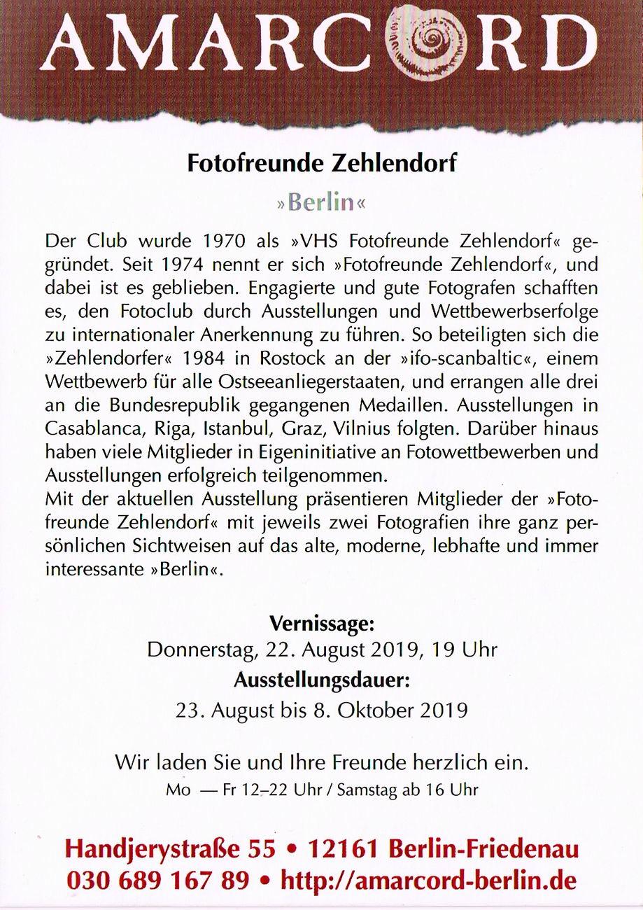 Amarcord Ausstellung Fotofreunde Zehlendorf Einladung 01