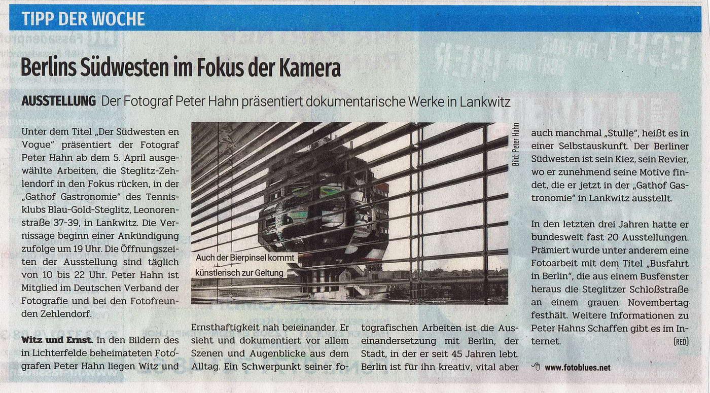 Berliner Abendblatt 30.03.2019 Tipp der Woche Fotoausstellung 01a konv1a
