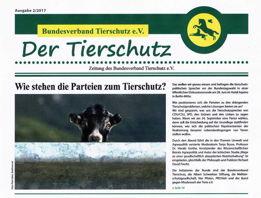 Der Tierschutz Bundesverband Tierschutz Titelseite konv