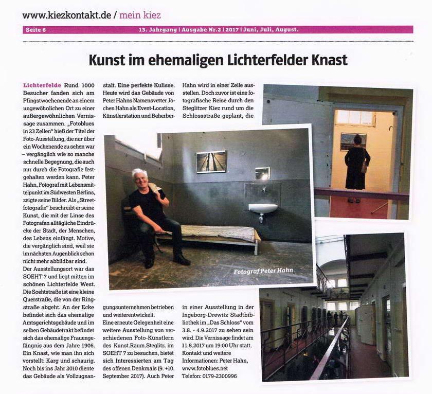 Kiez.Kontakt. Artikel Peter Hahn Ausstellung Pfingsten 2017 konv1